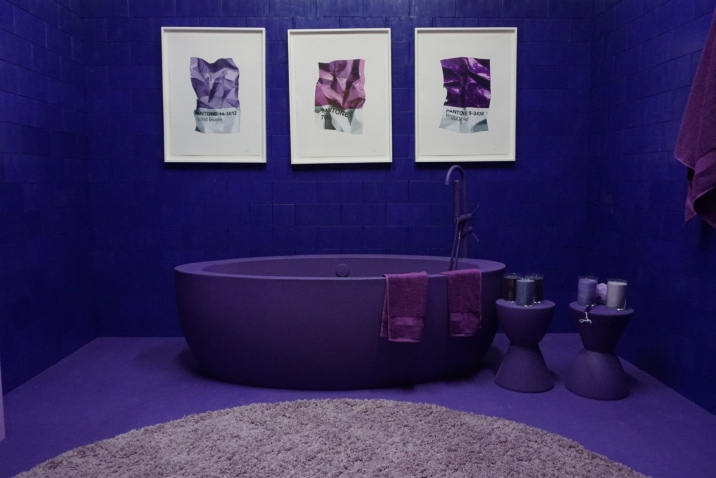 PURPLE TUB BY A PURPLE RUG IN A PURPLE BATHROOM